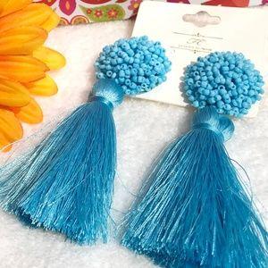 New! Large Aqua Boho Earrings Fluffy Post Tassels